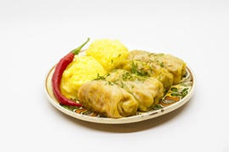 [Sarmale] Cabbage rolls, polenta, sour cream, hot pepper